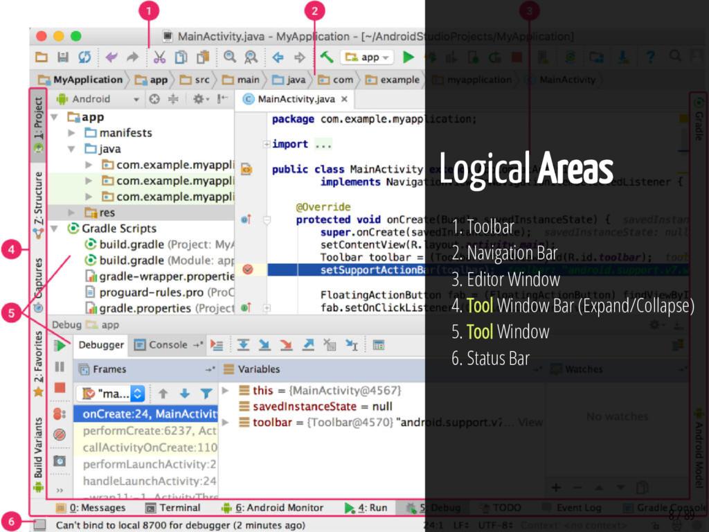 8 / 89 Logical Areas 1. Toolbar 2. Navigation B...