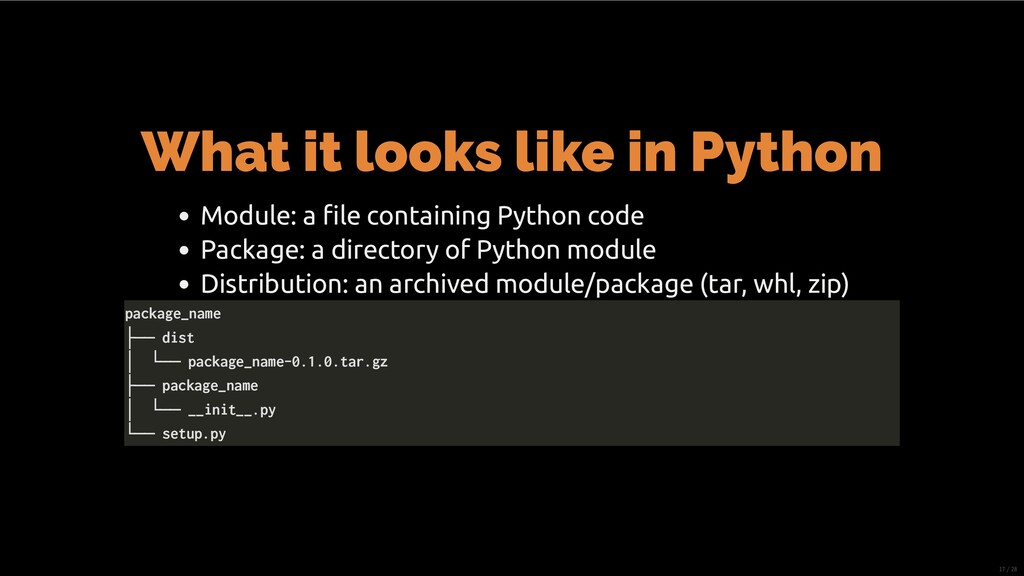 What it looks like in Python Module: a file cont...