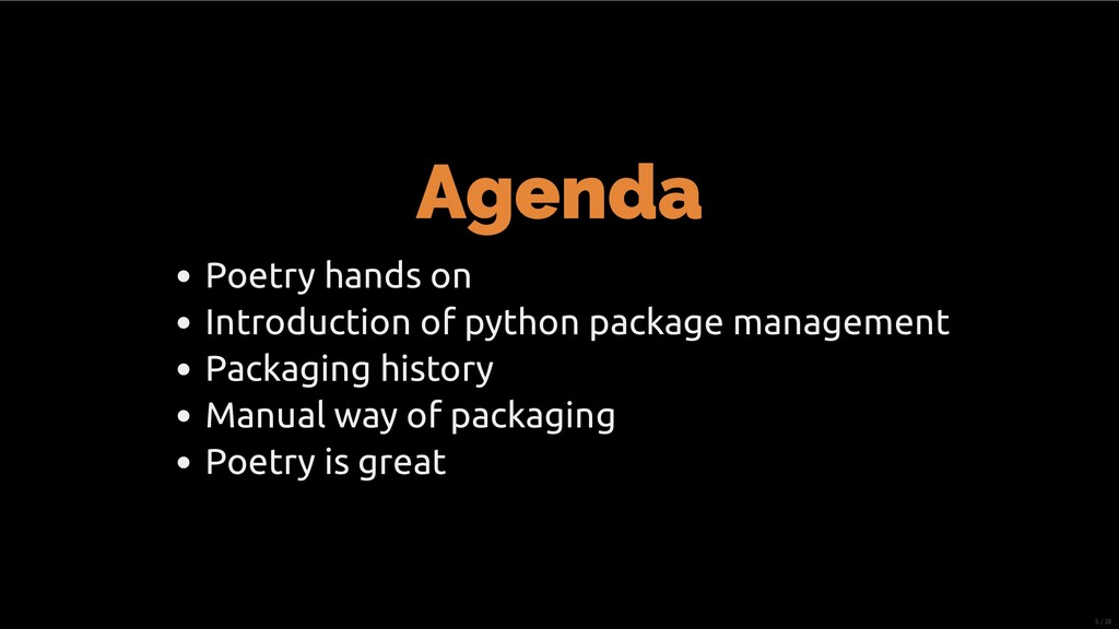 Agenda Poetry hands on Introduction of python p...