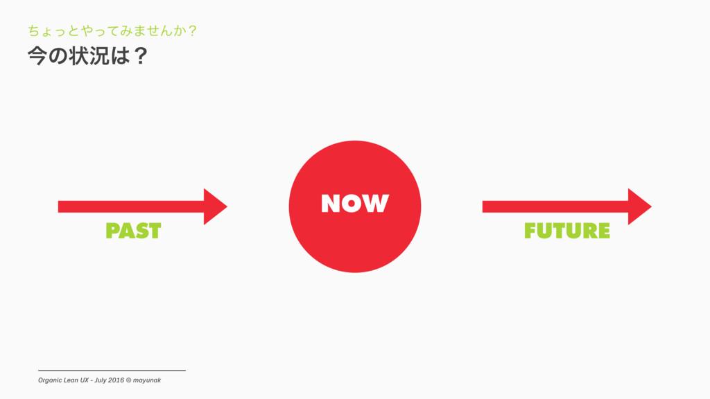 NOW PAST FUTURE ࠓͷঢ়گʁ ͪΐͬͱͬͯΈ·ͤΜ͔ʁ Organic Le...