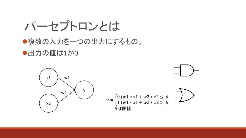 パーセプトロンとは ⚫複数の入力を一つの出力にするもの。 ⚫出力の値は1か0 y x1 x2 ...