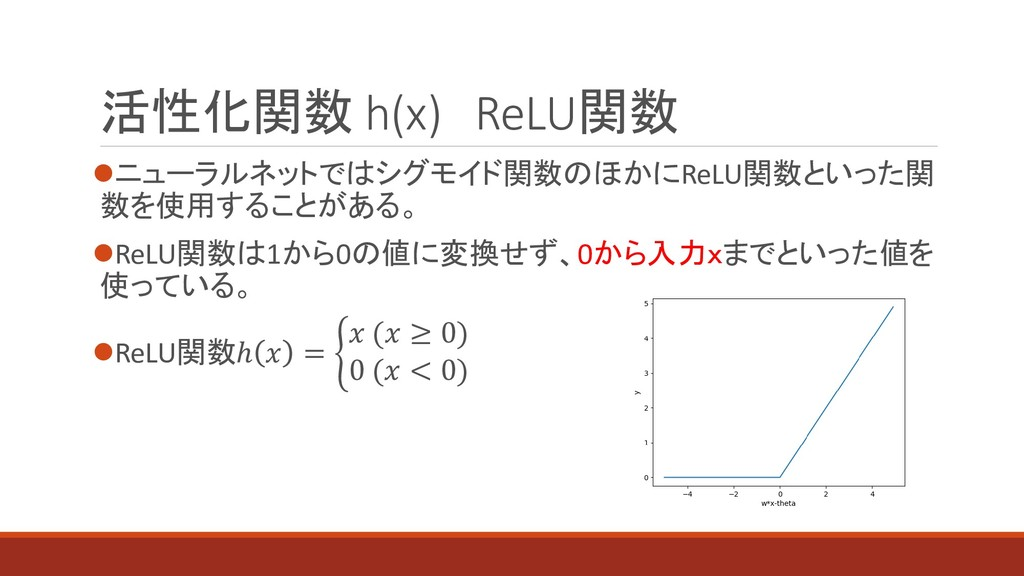 ⚫ニューラルネットではシグモイド関数のほかにReLU関数といった関 数を使用することがある。 ...