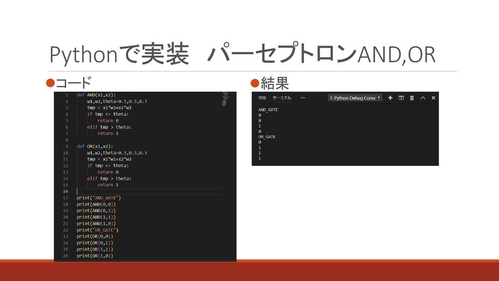 Pythonで実装 パーセプトロンAND,OR ⚫コード ⚫結果