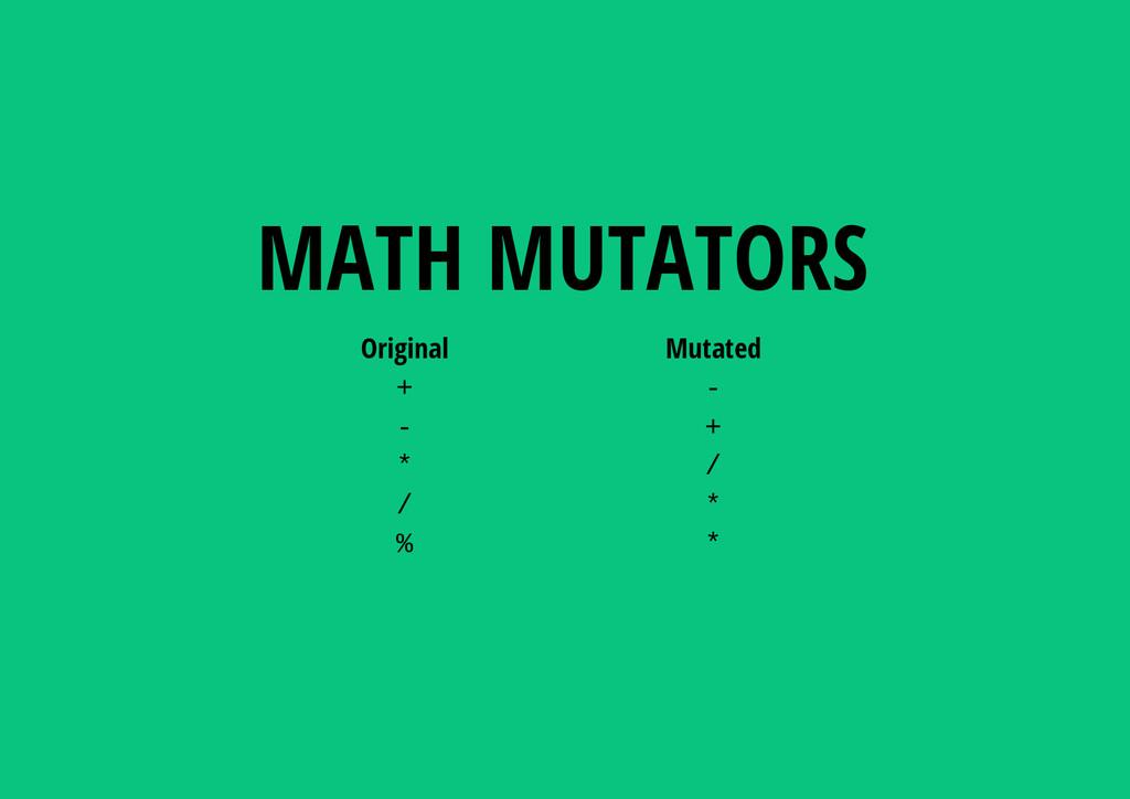 Original Mutated +   + * / / * % * MATH MUTAT...