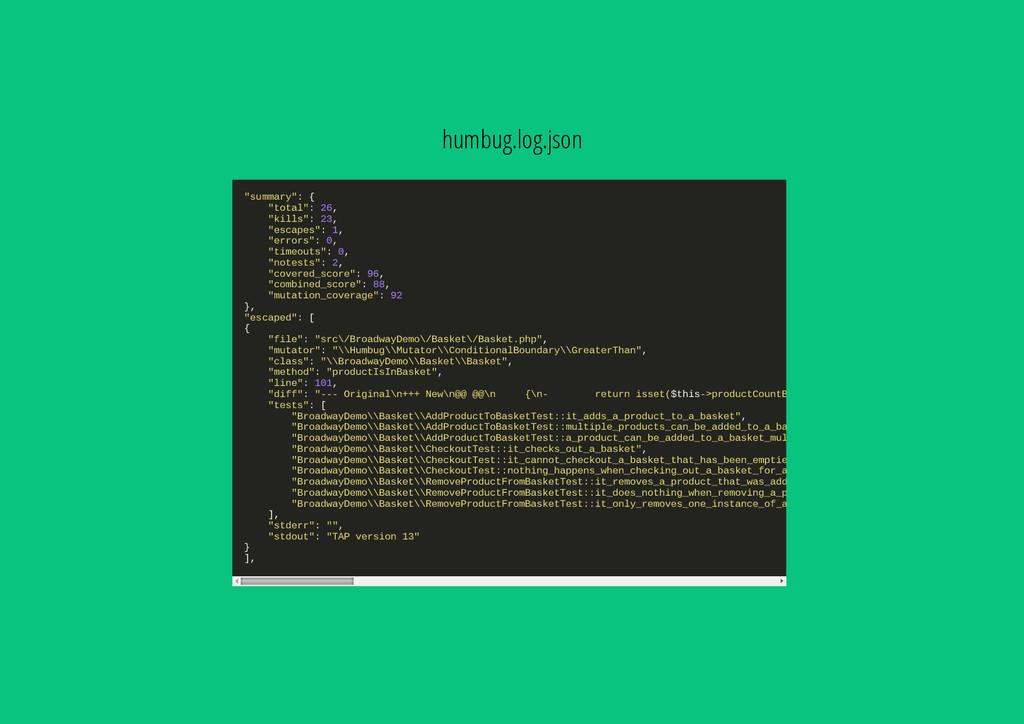 """humbug.log.json """" s u m m a r y """" : { """" t o t a..."""