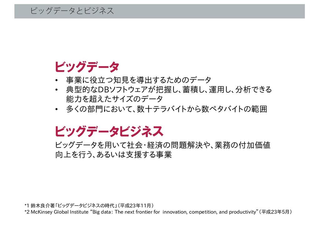 ϏοάσʔλͱϏδωε *1 鈴木良介著「ビッグデータビジネスの時代」(平成23年11月) *...