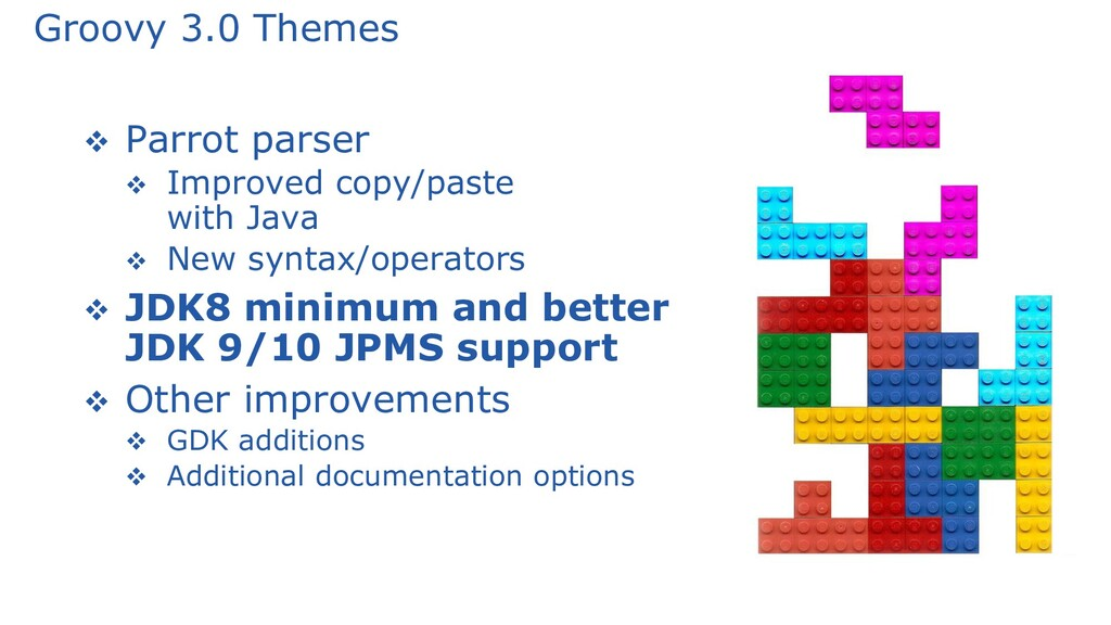 Groovy 3.0 Themes ❖ Parrot parser ❖ Improved co...