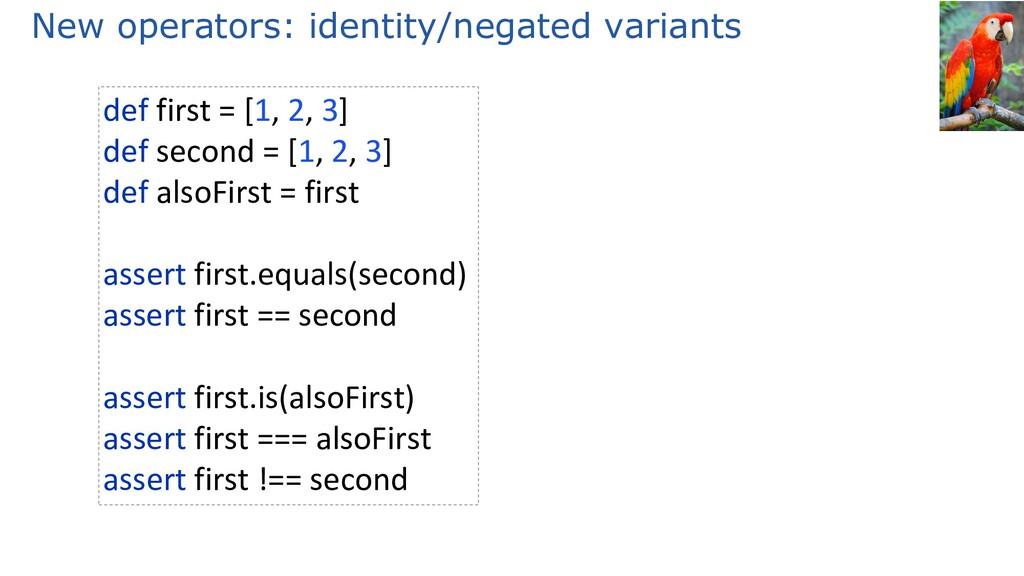 New operators: identity/negated variants def fi...