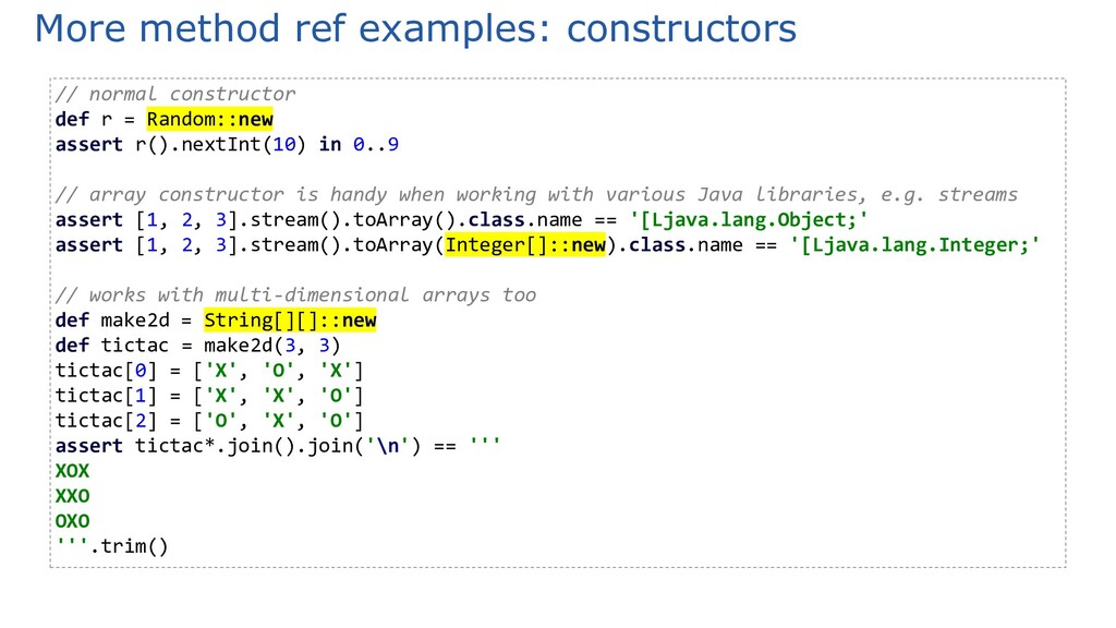 More method ref examples: constructors // norma...