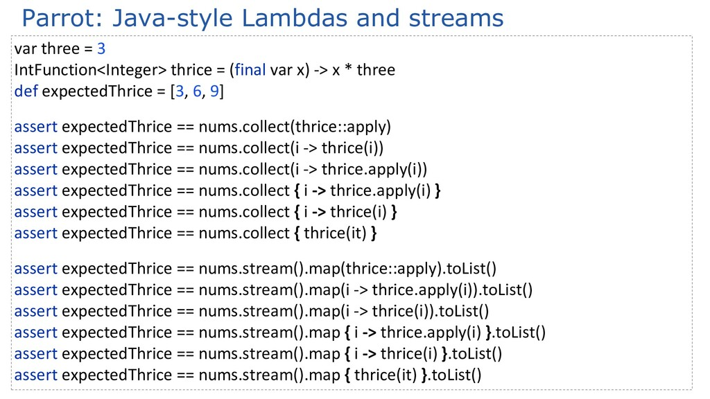 Parrot: Java-style Lambdas and streams var thre...