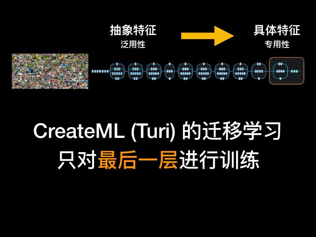CreateML (Turi) 的迁移学习 只对最后⼀一层进⾏行行训练 抽象特征 泛⽤用性 具...