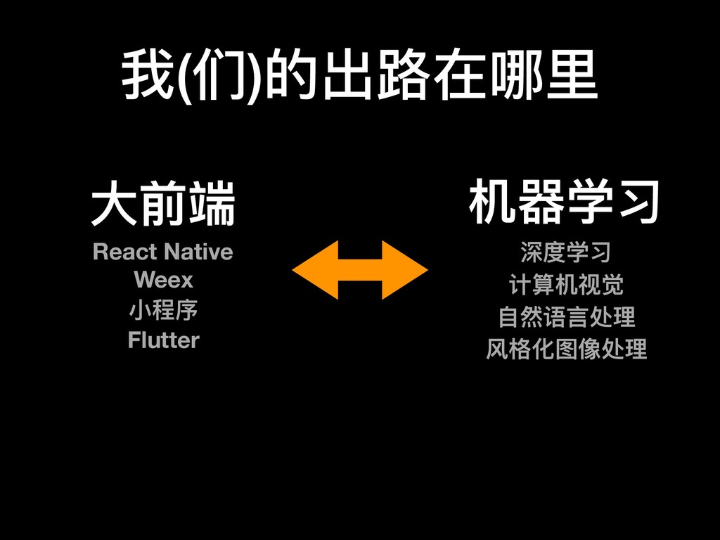 我(们)的出路路在哪⾥里里 ⼤大前端 React Native Weex ⼩小程序 Flutt...