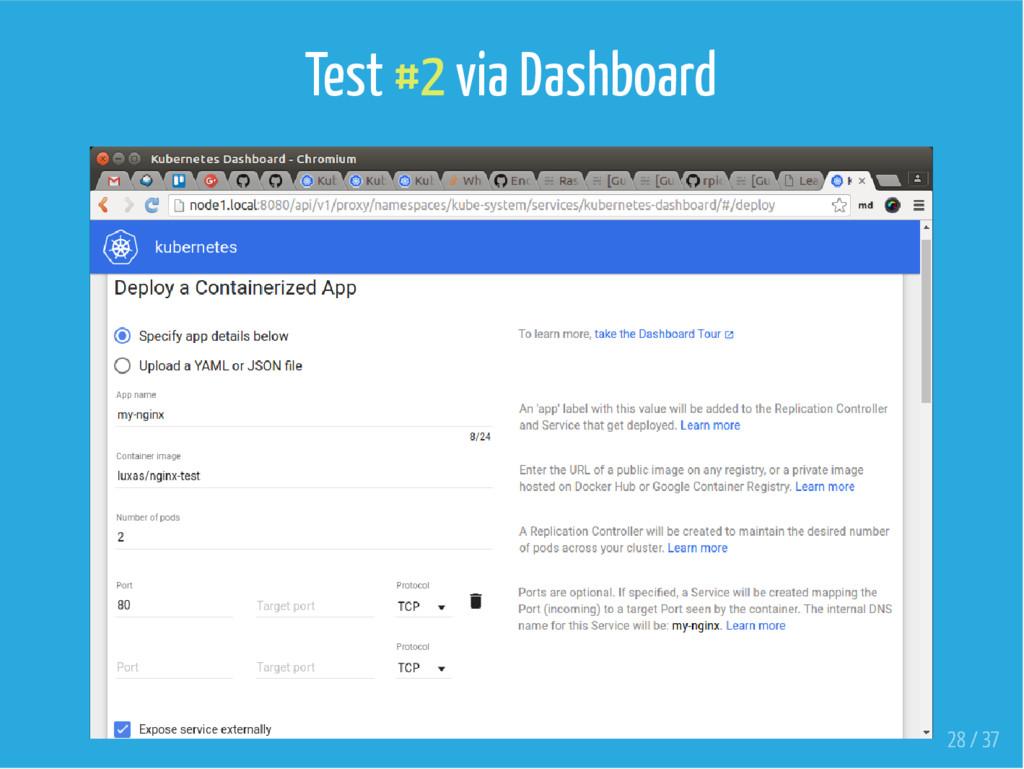 Test #2 via Dashboard 28 / 37