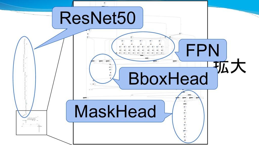拡大 FPN BboxHead MaskHead ResNet50
