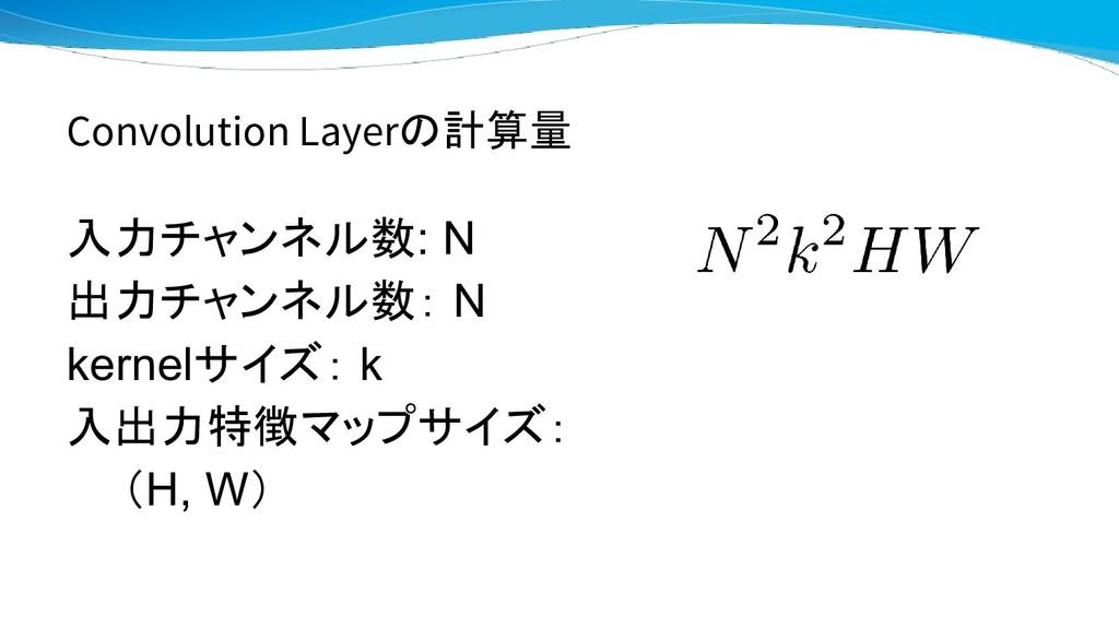Convolution Layerの計算量 入力チャンネル数: N 出力チャンネル数: N k...