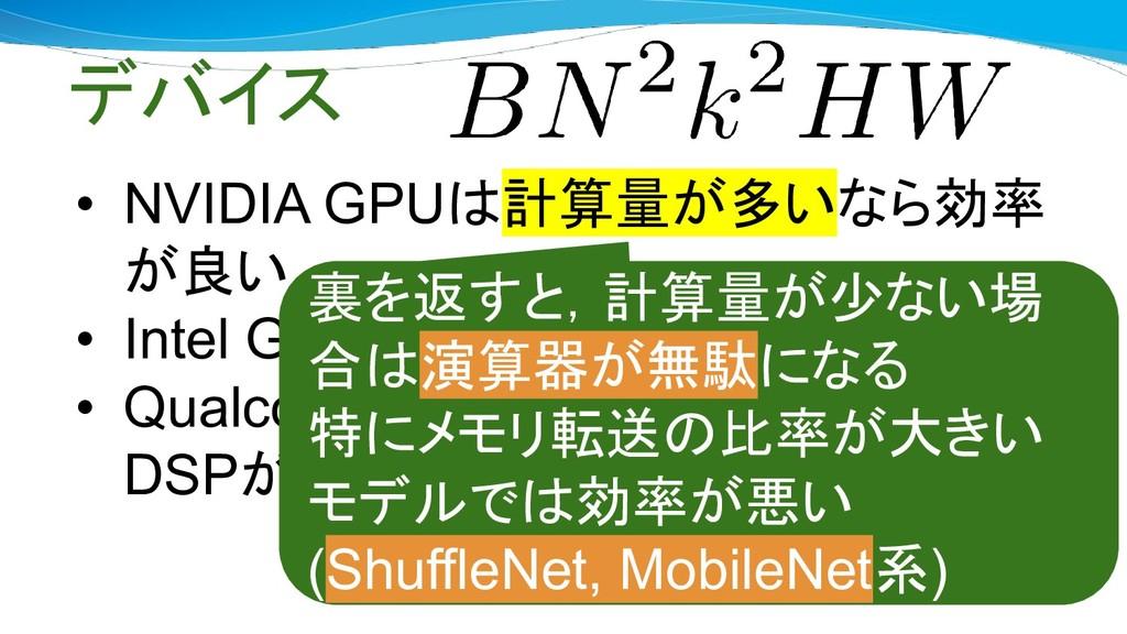 デバイス • NVIDIA GPUは計算量が多いなら効率 が良い • Intel GPUがわり...