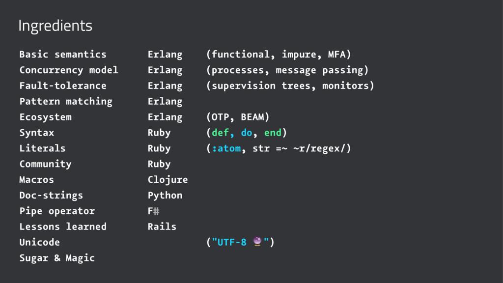 Ingredients Basic semantics Erlang (functional,...