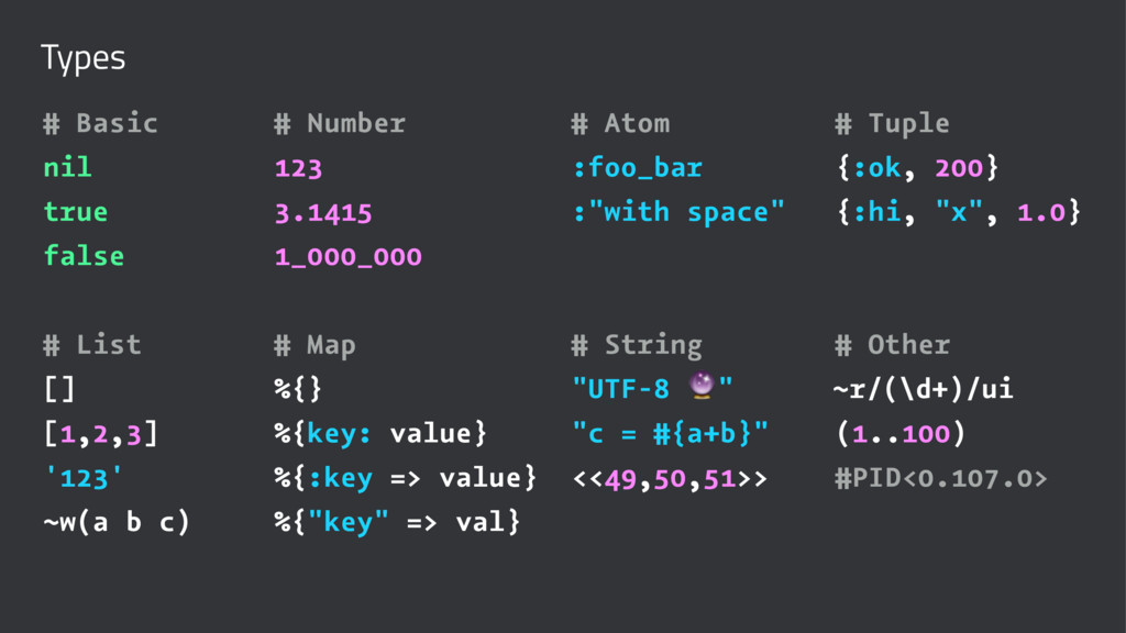 Types # Basic # Number # Atom # Tuple nil 123 :...