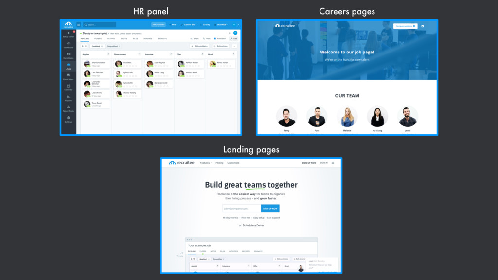 HR panel Careers pages Landing pages