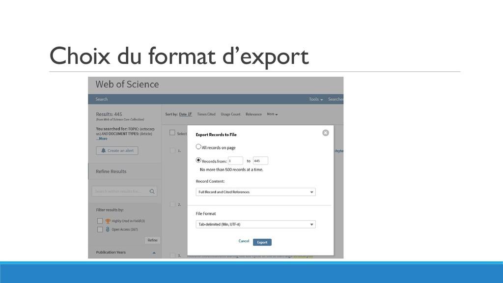 Choix du format d'export