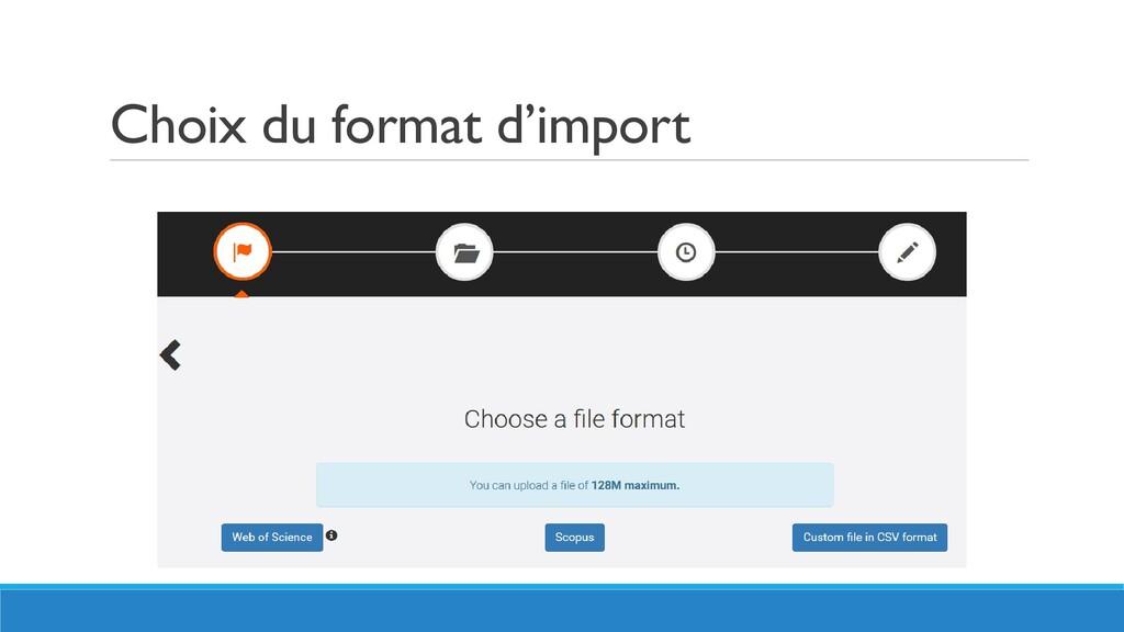 Choix du format d'import