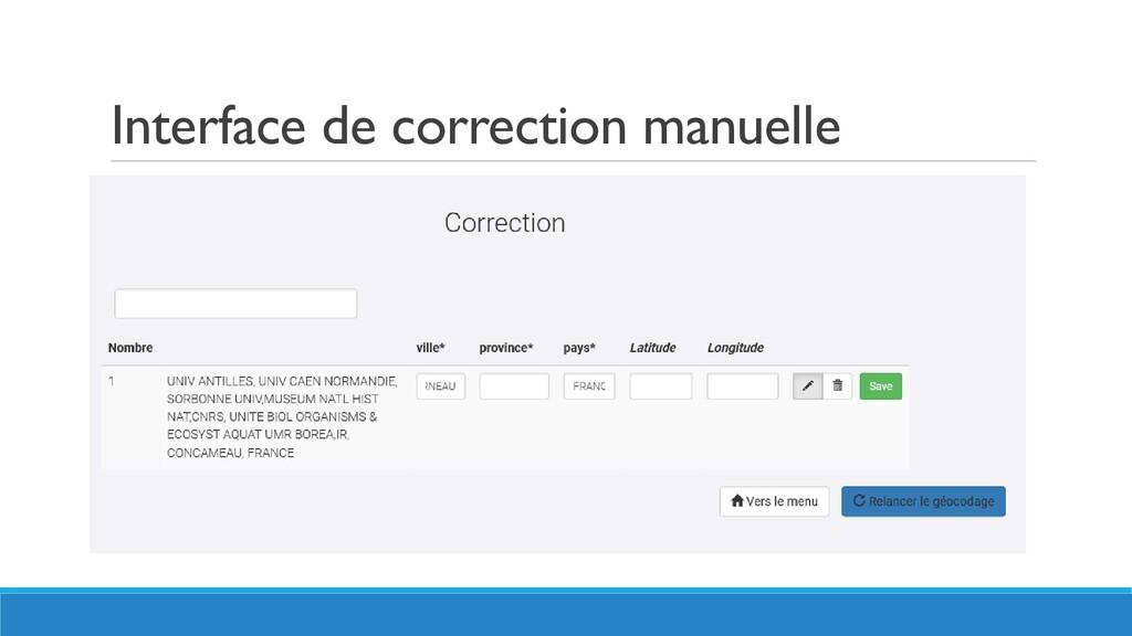 Interface de correction manuelle
