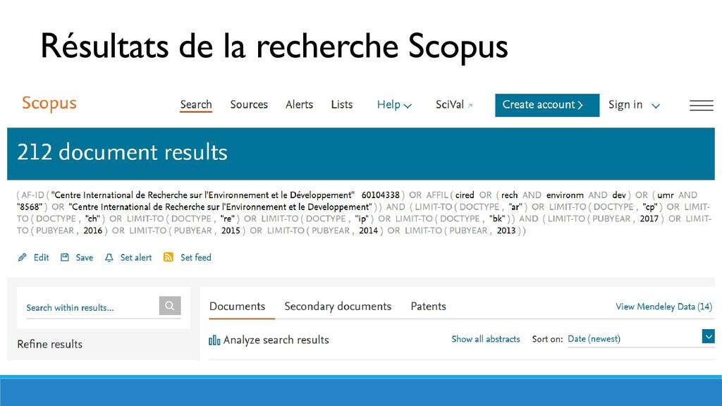 Résultats de la recherche Scopus
