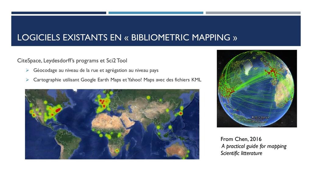 LOGICIELS EXISTANTS EN « BIBLIOMETRIC MAPPING »...