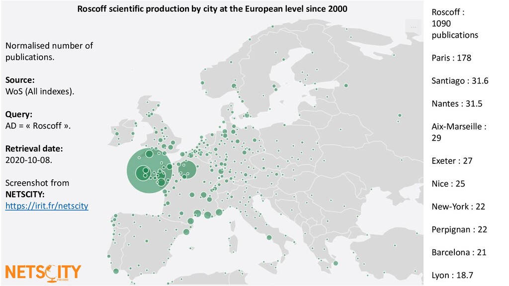 Roscoff scientific production by city at the Eu...