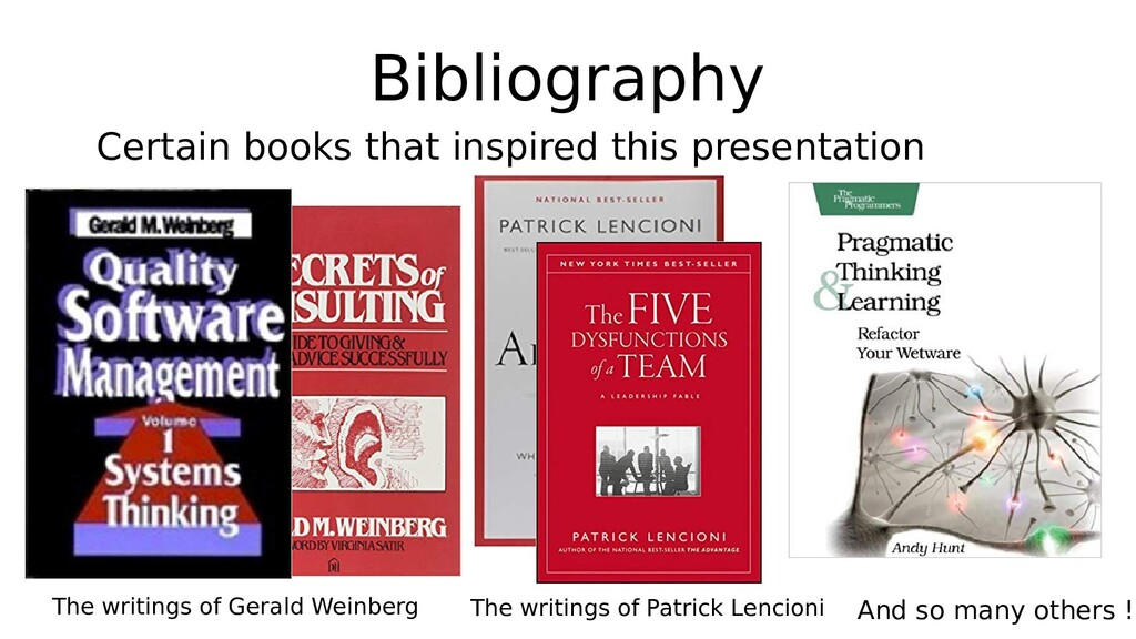 Bibliography Certain books that inspired this p...