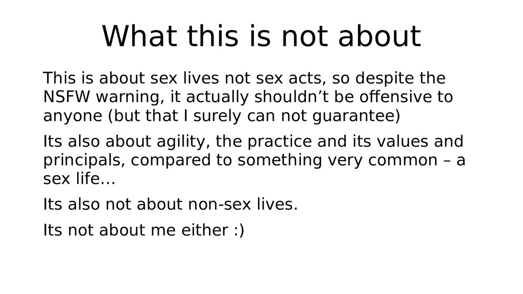 What this is not about This is about sex lives ...