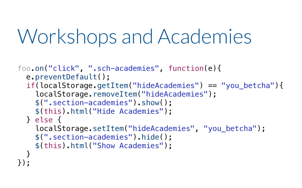 "foo.on(""click"", "".sch-academies"", function(e){ ..."