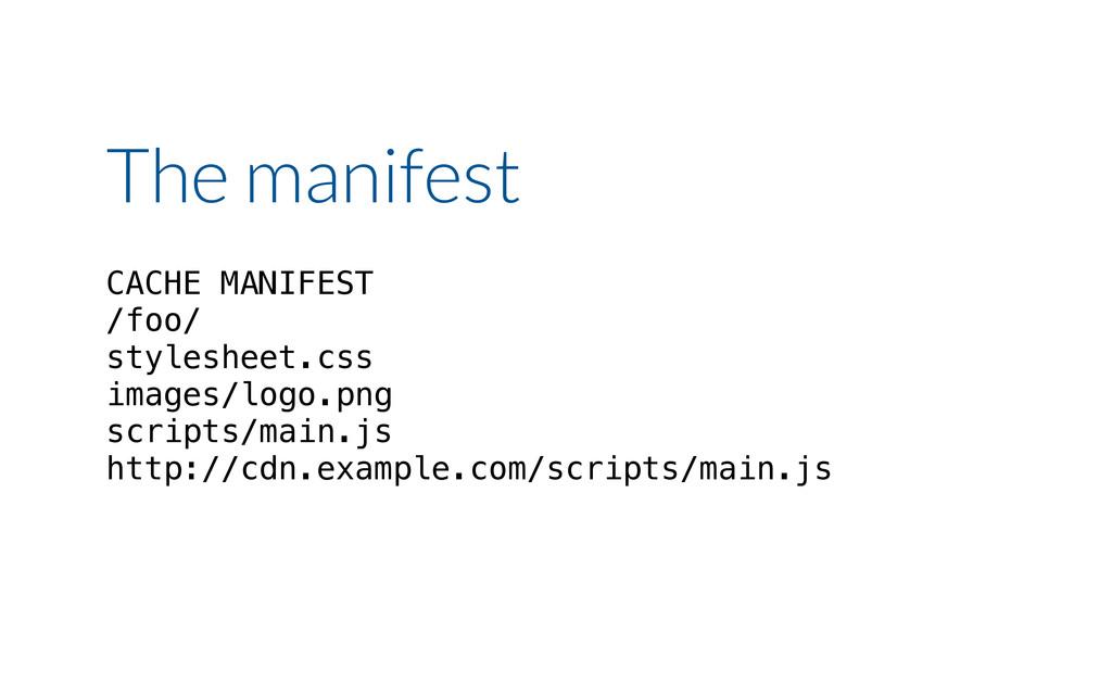 The manifest CACHE MANIFEST /foo/ stylesheet.cs...