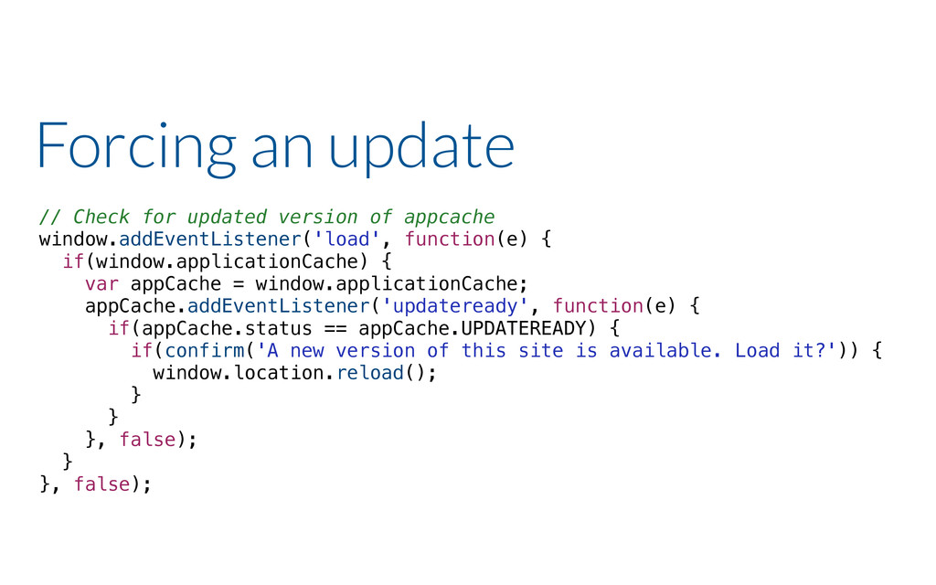 Forcing an update // Check for updated version ...