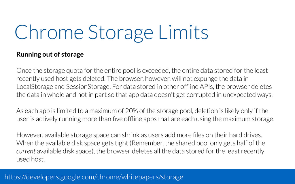 Chrome Storage Limits Running out of storage On...