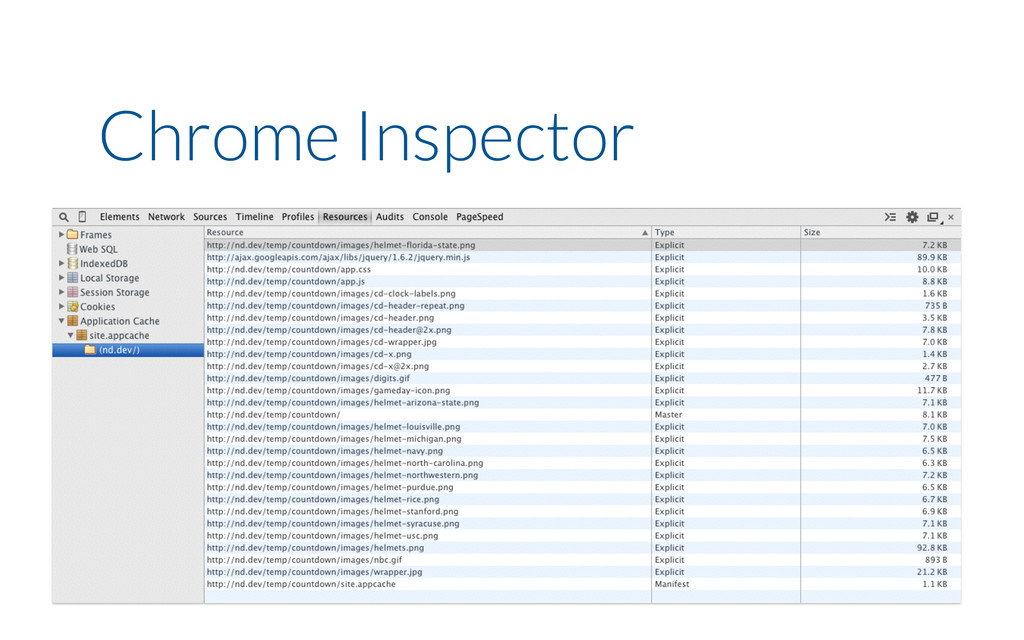 Chrome Inspector chrome://appcache-internals/