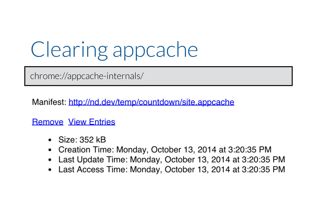 Clearing appcache chrome://appcache-internals/