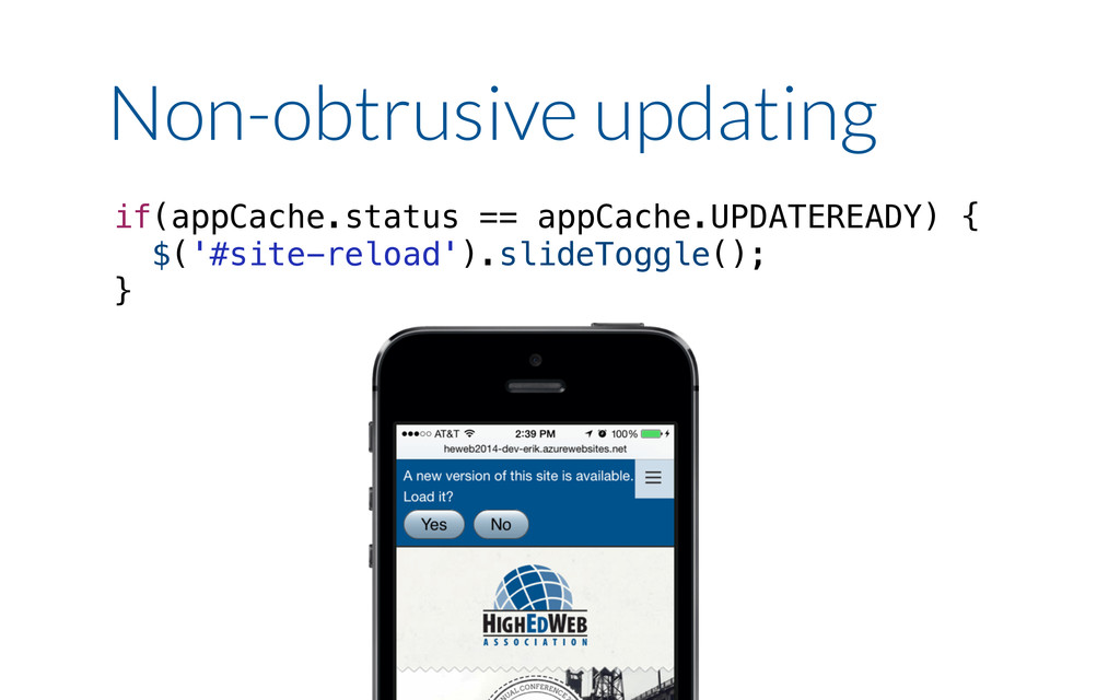 if(appCache.status == appCache.UPDATEREADY) { $...