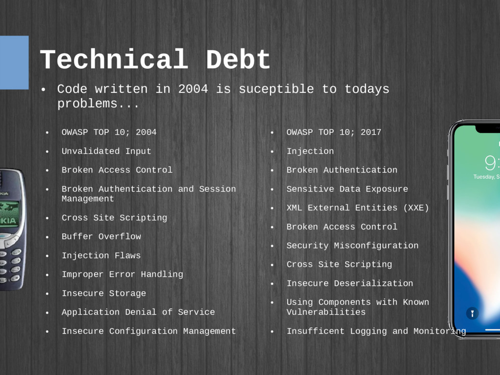 Technical Debt ● OWASP TOP 10; 2017 ● Injection...