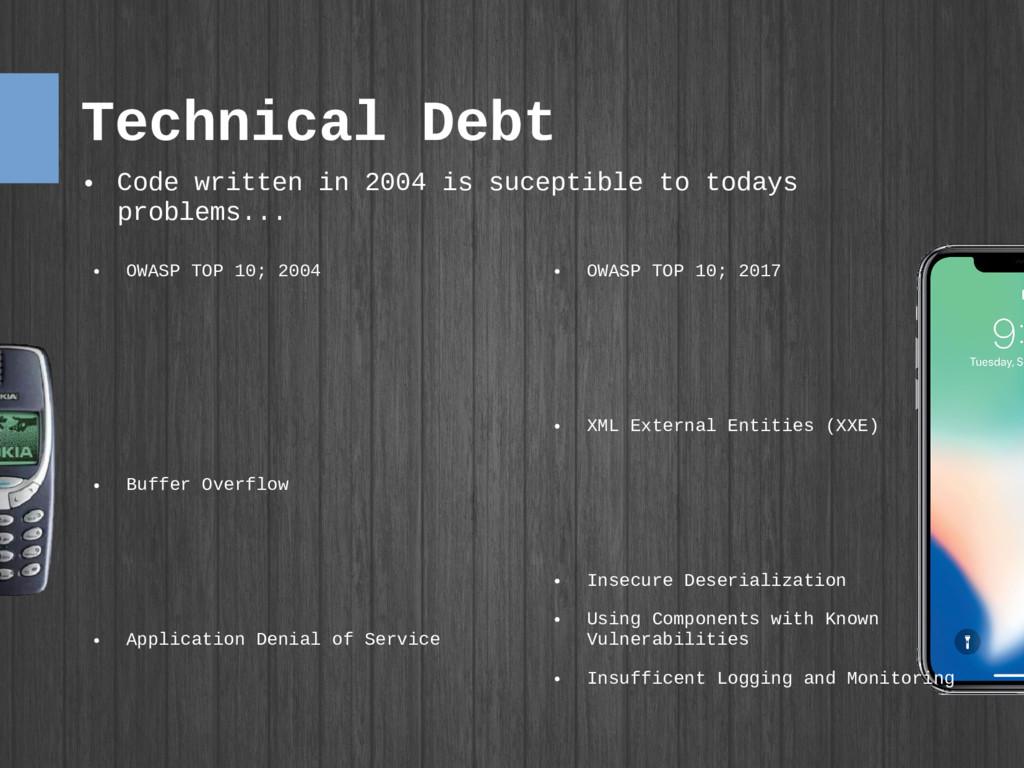 Technical Debt ● OWASP TOP 10; 2017 ● XML Exter...