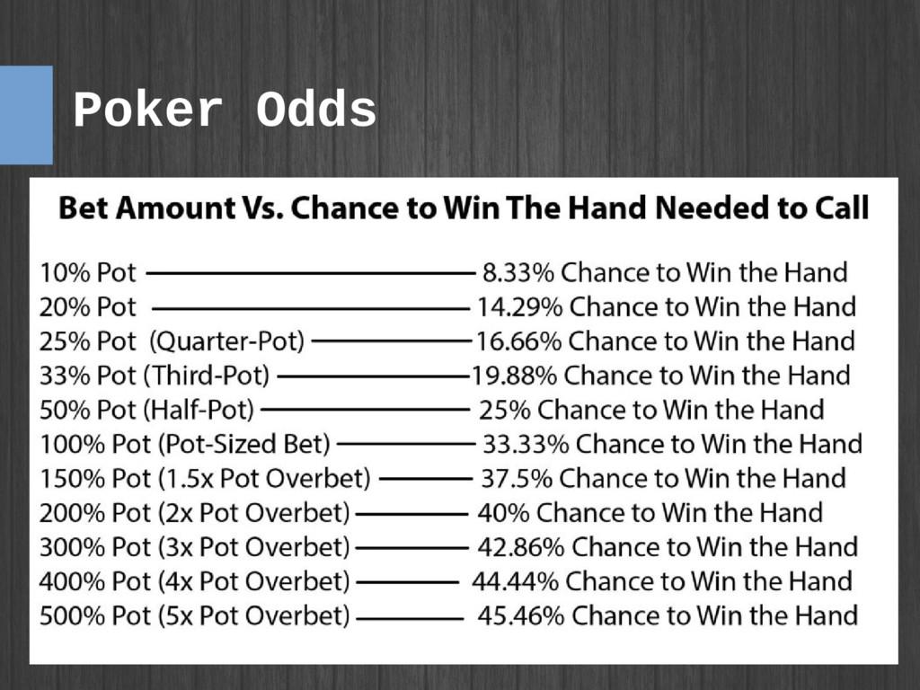 Poker Odds ● Poker odds ● ●
