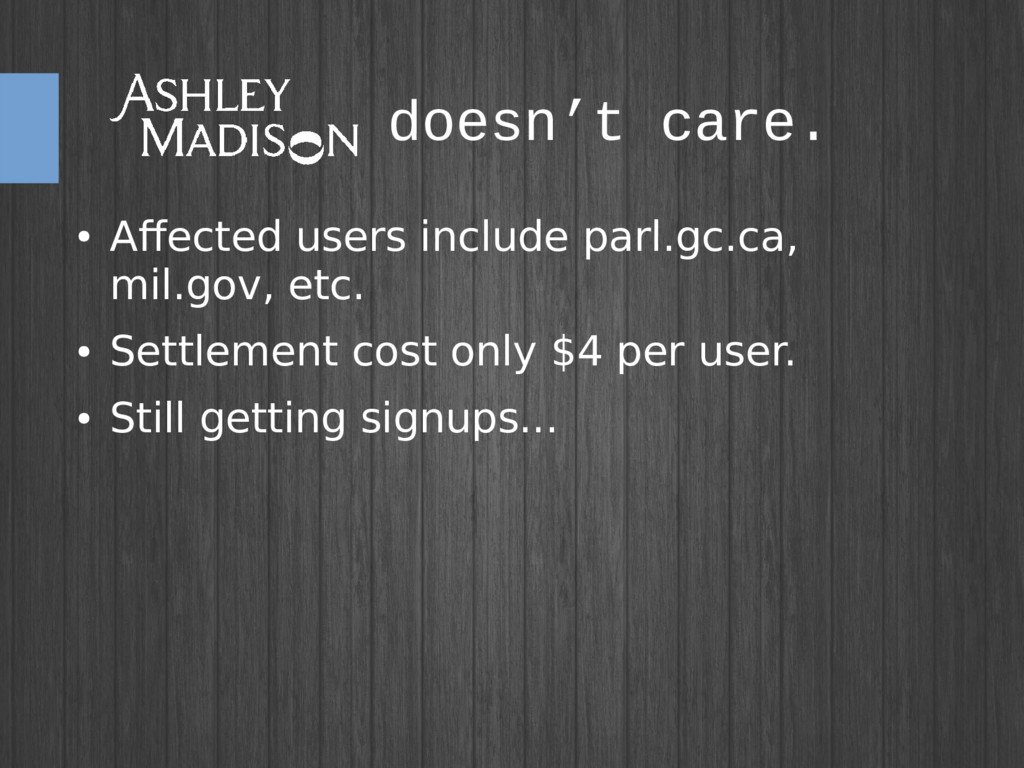 doesn't care. ● Affected users include parl.gc....