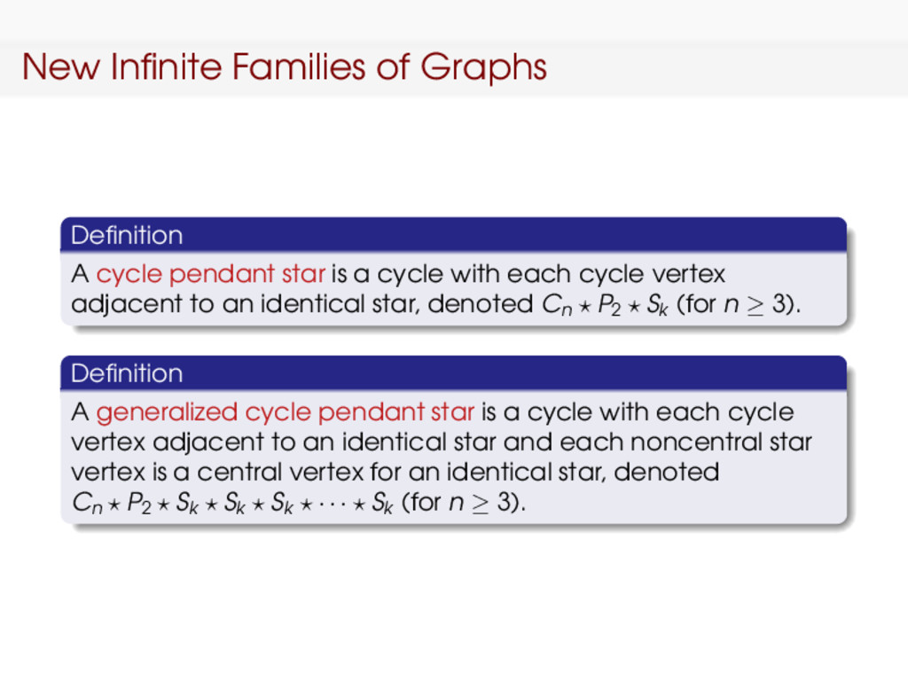 New Infinite Families of Graphs Definition A cycl...