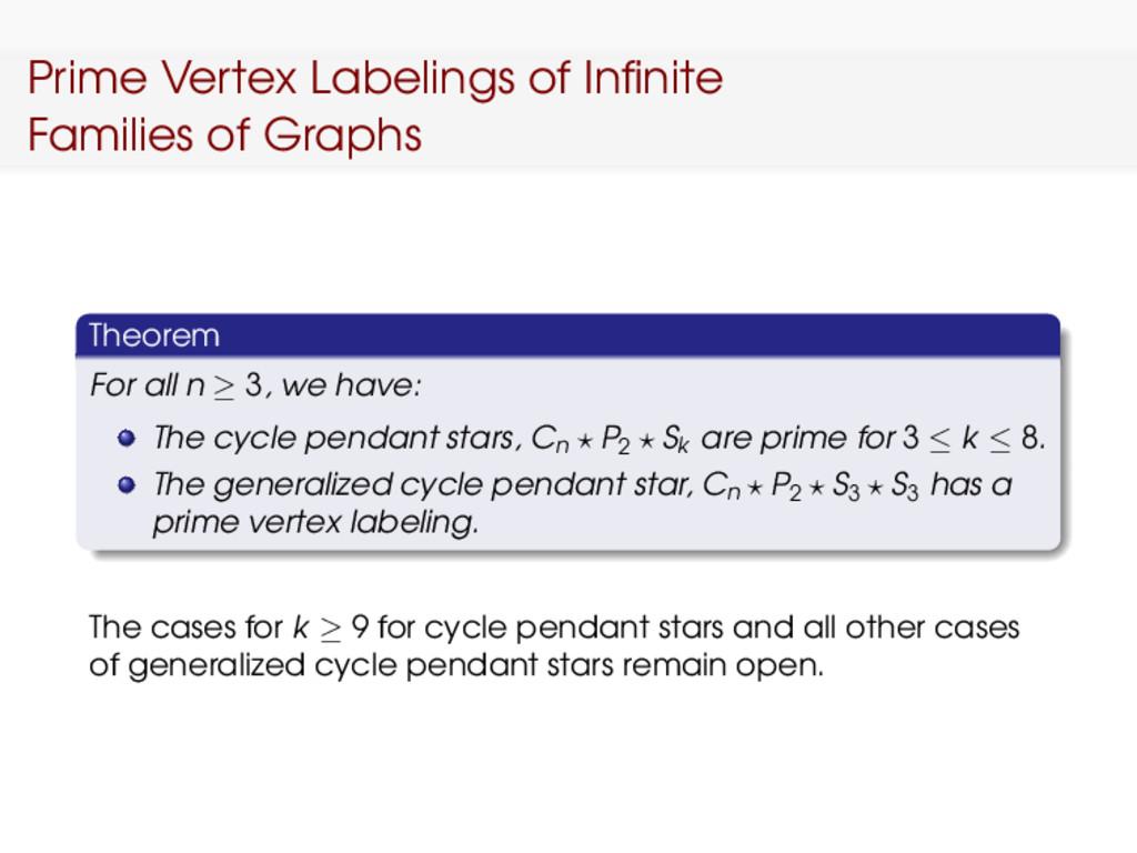 Prime Vertex Labelings of Infinite Families of G...