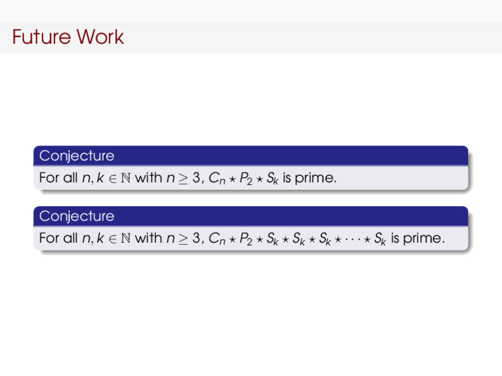 Future Work Conjecture For all n, k ∈ N with n ...