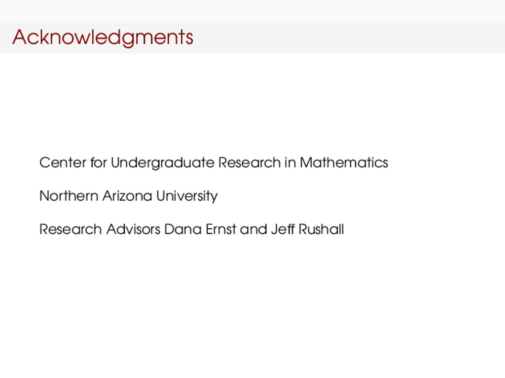 Acknowledgments Center for Undergraduate Resear...