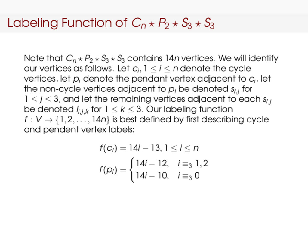 Labeling Function of Cn P2 S3 S3 Note that Cn P...