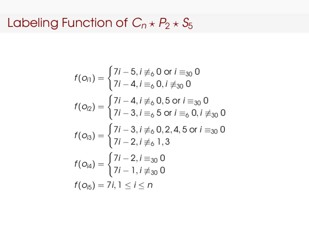 Labeling Function of Cn P2 S5 f(oi1) = 7i − 5, ...