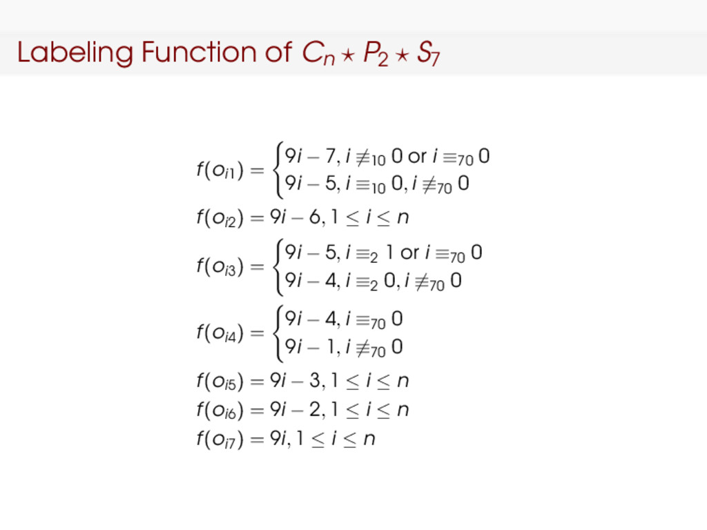 Labeling Function of Cn P2 S7 f(oi1) = 9i − 7, ...