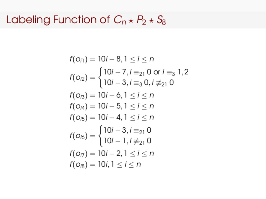 Labeling Function of Cn P2 S8 f(oi1) = 10i − 8,...